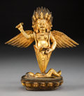 Asian:Chinese, A Sino-Tibetan Gilt Bronze Standing Wrathful Deity, 19th century.7-3/8 h x 6-7/8 w x 2-1/2 d inches (18.7 x 17.5 x 6.4 cm)...