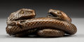Asian:Japanese, A Japanese Carved Wood Snake and Toad Figural Group, MeijiPeriod. Marks: Sukenaga studio mark to underside. 1-5... (Total: 2Items)