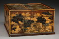Asian:Japanese, A Japanese Lacquered and Partial Gilt Wood Table Cabinet withChrysanthemum and Butterfly Motif, Meiji Period, circa 1868-19...