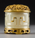 Asian:Chinese, A Chinese White Jade and Gilt Bronze Censer, Qing Dynasty, jade18th century. Marks: Four-character Qianlong mark but of a l...