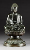 Asian:Japanese, A Japanese Bronze Seated Buddha on Lotus-Form Base. 18-1/8 incheshigh x 9-7/8 inches diameter (46.0 x 25.1 cm). ...