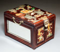 Asian:Chinese, A Chinese Embellished and Mirrored Hardwood Dressing Box, Qing Dynasty, 19th century. 7-1/2 h x 11-5/8 w x 8-7/8 d inches (1...