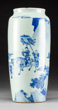 Asian:Chinese, A Chinese Blue and White Porcelain Sleeve Vase, Qing Dynasty,Shunzhi Period, circa 1644-1661. 15-7/8 inches high (...