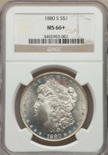 Morgan Dollars: , 1880-S $1 MS66+ NGC. NGC Census: (11718/3492 and 327/119+). PCGS Population: (11146/2525 and 503/316+). MS66. Mintage 8,900...