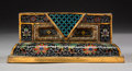 Asian:Chinese, A Chinese Cloisonné and Gilt Bronze Stand, Qing Dynasty, QianlongPeriod, circa 1736-1795. 2-1/8 h x 5 w x 3-5/8 d inches (5...