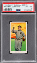 Baseball Cards:Singles (Pre-1930), 1909-11 T206 Sweet Caporal 350/25 Wild Bill Donovan (Throwing) PSA NM-MT 8 - Pop Five, One Higher! ...