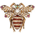 Estate Jewelry:Brooches - Pins, Diamond, Ruby, Emerald, Enamel, Rose Gold Brooch. ...