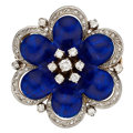Estate Jewelry:Brooches - Pins, Diamond Enamel, Platinum-Topped Gold Brooch. ...