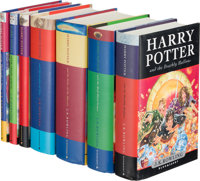 J. K. Rowling. Boxed Set of Seven Harry Potter Books. [London]: Bloomsbury: [circa 2007]. First editions, first five