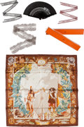 Luxury Accessories:Accessories, Set of Seven: Hermes Kermit Oliver Silk Scarf, Three Lace Twilly Scarves, Two Rolls of Scented Paper, & Black Fan. Conditi... (Total: 7 Items)