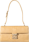 "Luxury Accessories:Bags, Gucci Light Beige Crocodile Shoulder Bag. Condition: 2.10"" Width x 6"" Height x 2.5"" Depth. ..."
