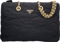 "Prada Black Quilted Nylon Tote Bag Condition: 2 13.5"" Width x 10"" Height x 3.25"" Depth"