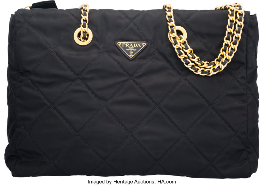 Prada Black Quilted Nylon Tote Bag. Condition  2. 13.5