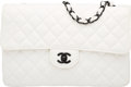 """Luxury Accessories:Bags, Chanel White Quilted Lambskin Leather Medium Classic Single Flap Bag with Black PVD Hardware. Condition: 4. 11"""" Width ..."""