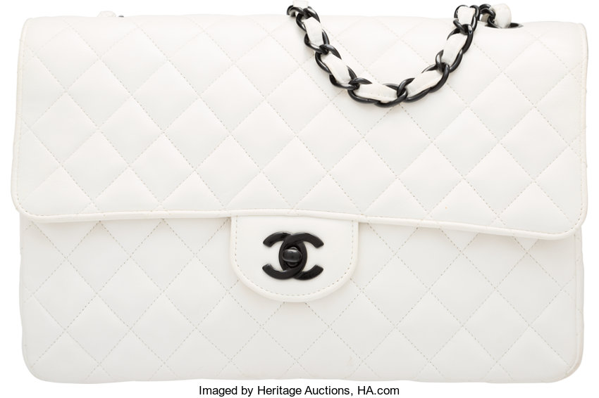 5fe9c84f26b44 Chanel White Quilted Lambskin Leather Medium Classic Single