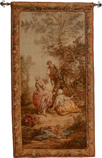 A Flemish Baroque-Style Tapestry with Genre Scene, 19th century 92 x 49 inches (233.7 x 124.5 cm)