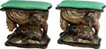 Furniture : Continental, A Pair of Venetian Carved and Polychromed Wood Blackamoor Figural Benches with Cushions, 19th century . 22 x 23-1/2 x 13-1/4... (Total: 2 Items)