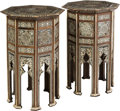 Furniture , A Pair of Moorish Mother-of-Pearl and Bone Inlaid Octagonal Side Tables. 25-3/4 x 16-3/4 x 16-3/4 inches (65.4 x 42.5 x 42.5... (Total: 2 Items)