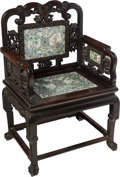 Asian:Chinese, A Chinese Carved Hardwood Chair Inset with Porcelain Plaques. 39 x26 x 19-1/2 inches (99.1 x 66.0 x 49.5 cm). ...