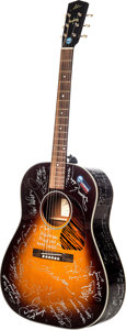 Music Memorabilia:Instruments , Buddy Holly Limited Edition Acoustic Guitar Signed by Top MusicIcons....