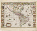 Books:Maps & Atlases, Willem Janszoon Blaeu. Americæ. Nova Tabula.Amsterdam: [circa 1630-1640]. Map of the Americas, taken from Joan...