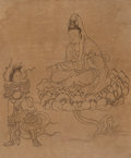 Asian:Chinese, Attributed to Cui Zizhong (Chinese, 1574-1644). Deities andFolklore Figure Folios (thirty-eight works). Ink on silk lai...