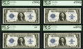 Large Size:Silver Certificates, Fr. 237 $1 1923 Cut Sheet of Four Silver Certificates PCGS SuperbGem New 67PPQ, PCGS Superb Gem New 67PPQ, PCGS Gem New 66PP...