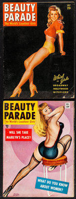 "Bettie Page in Beauty Parade (Beauty Parade Inc., 1954 & 1955). Pin-Up Magazines (2) (52 Pages, 8.5"" X 11""..."