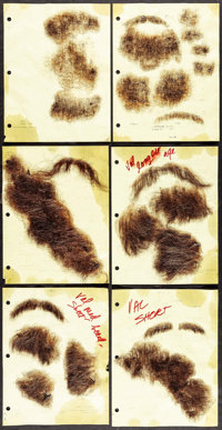 Facial Hairpieces from The Doors (Tri-Star, 1991). Screen-Used Facial Appliances (8 Sets) (Human Hair on Netting, Variou...