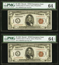 Small Size:World War II Emergency Notes, Fr. 2301 $5 1934 Mule Hawaii Federal Reserve Notes. Consecutive Pair. PMG Choice Uncirculated 64 and 64 EPQ.. ... (Total: 2 notes)
