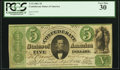 Confederate Notes:1861 Issues, T33 $5 1861 PF-20 Cr. UNL.. ...