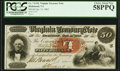 Obsoletes By State:Virginia, Richmond, VA- Virginia Treasury Note $50 Oct. 15, 1862 Cr. 7 Inverted Protector. ...