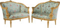 Furniture, A Pair of Louis XVI-Style Upholstered Giltwood Settees. 38-1/2 x 49-1/2 x 31 inches (97.8 x 125.7 x 78.7 cm) (each) . ... (Total: 2 Items)