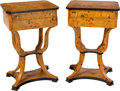 Furniture , A Pair of Biedermeier-Style Side Sewing Tables, 20th century. 31 x 19-1/2 x 15-1/2 inches (78.7 x 49.5 x 39.4 cm) (each). ... (Total: 2 Items)