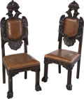 Furniture : Continental, A Pair of Continental Carved Oak Side Chairs with Imperial EagleMotif, late 19th century. 51-1/4 x 18-1/4 x 18 inches (130....(Total: 2 Items)