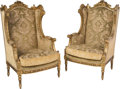 Furniture , A Pair of Louis XVI-Style Giltwood and Velvet Upholstered Bergères, 20th century. 46-1/2 x 28 x 26-1/2 inches (118.1 x 71.1 ... (Total: 2 Items)