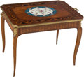 Furniture , A Louis XV-Style Marquetry Inlaid Table with Sèvres-Style Porcelain Plaque and Gilt Bronze Mounts . 21-1/4 x 31 x 19-7/8 inc...