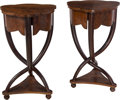 Furniture , A Pair of Biedermeier-Style Carved Wood Side Tables. 28-5/8 x 17 x 17-1/2 inches (72.7 x 43.2 x 44.5 cm). ... (Total: 2 Items)