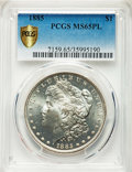 Morgan Dollars: , 1885 $1 MS65 Prooflike PCGS Secure. PCGS Population: (268/73 and 5/11+). NGC Census: (175/42 and 3/0+). CDN: $193 Whsle. Bi...