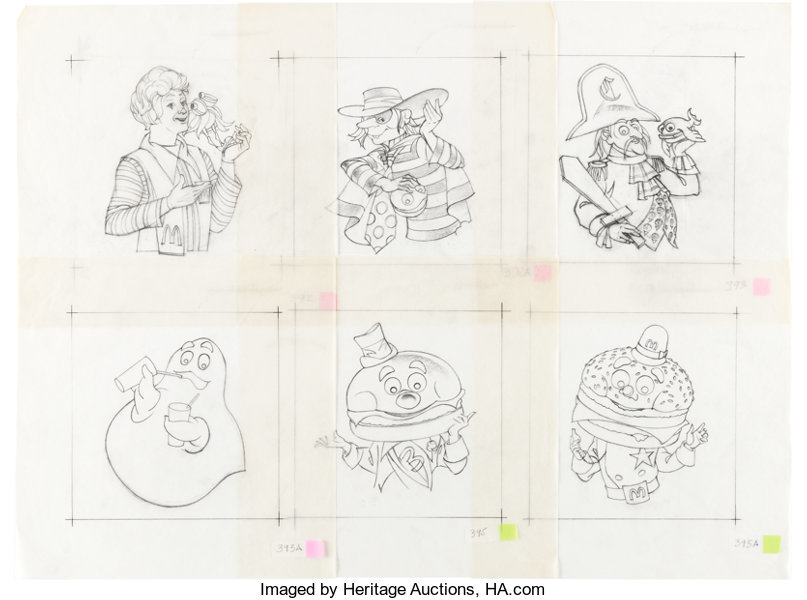 McDonaldland Characters Etched Glass Design Drawings by Wes ...