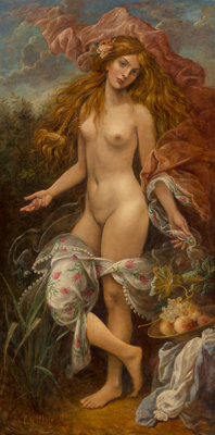 Cornelis Le Mair (Dutch, b. 1944) Flora, 2009 Oil on Masonite 76-1/2 x 39-1/4 inches (194.3 x 99