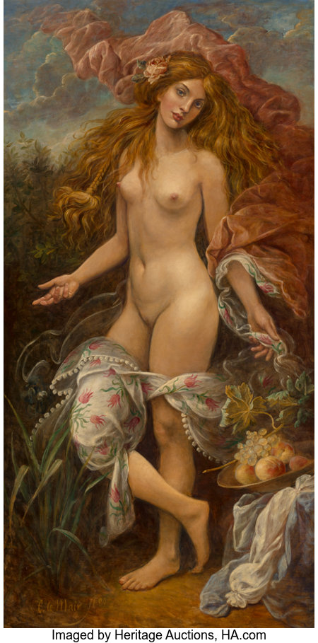 Cornelis Le Mair (Dutch, b. 1944) Flora, 2009 Oil on Masonite 76-1/2 x 39-1/4 inches (194.3 x 99.7 cm) Signed lower ...