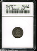 Early Half Dimes: , 1800 H10C--Damaged, Bent--ANACS. VG Details, Net Good 4. V-1, LM-1,R.3. Struck numerous times on each side with a small, s...
