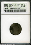 Early Dimes: , 1796 10C--Damaged, Bent--ANACS. Good Details, Net Fair 2. JR-4,R.4. A wavy piece with uneven wear, the sharper areas have ...