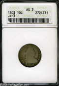 Early Dimes: , 1803 10C AG3 ANACS. JR-3, R.4. Golden-brown, pearl-gray, andsea-green patina. LIBERTY and AMERICA are nearly worn smooth, ...