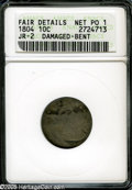Early Dimes: , 1804 10C 14 Stars on Reverse--Damaged, Bent--ANACS. Fair Details,Net Poor 1. JR-2, R.5. An affordable example of this rare...