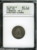 Early Dimes: , 1805 10C 4 Berries--Scratched, Cleaned--ANACS. VG Details, Net Good4. JR-2, R.2. A dipped slate-gray early Dime, UNITED is...
