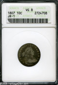 Early Dimes: , 1807 10C VG8 ANACS. JR-1, R.2. Bright powder-blue, gold, and rosehues emerge from the centers. The obverse has a few sligh...