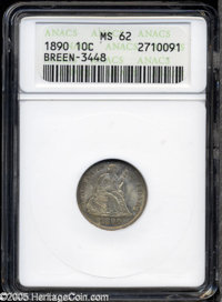 1890 10C MS62 ANACS. Closed 9, Breen-3448. MPD-001, Fortin-105. The top of an 8 or 9 digit is misplaced east of the shie...