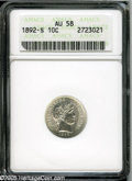 Barber Dimes: , 1892-S 10C AU58 ANACS. Well struck, with nice remaining luster, andessentially untoned....